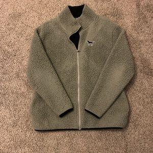 PINK green zip fleece